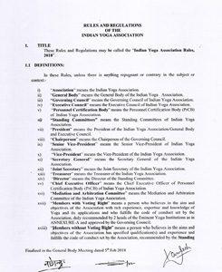 Rules and Regulations of IYA